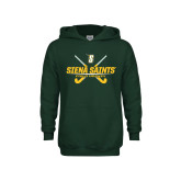 Youth Dark Green Fleece Hoodie-Field Hockey Crossed Sticks