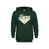 Youth Dark Green Fleece Hoodie-Softball Plate Design