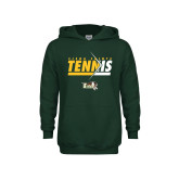 Youth Dark Green Fleece Hoodie-Tennis Abstract Net