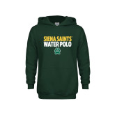 Youth Dark Green Fleece Hoodie-Water Polo Stacked
