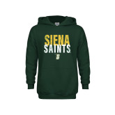 Youth Dark Green Fleece Hoodie-Siena Saints Stacked