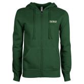 ENZA Ladies Dark Green Fleece Full Zip Hoodie-Siena