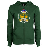 ENZA Ladies Dark Green Fleece Full Zip Hoodie-2016 MAAC Mens Golf Champions