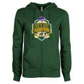 ENZA Ladies Dark Green Fleece Full Zip Hoodie-2016 MAAC Mens Golf Champions
