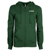 ENZA Ladies Dark Green Fleece Full Zip Hoodie-Siena