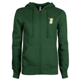 ENZA Ladies Dark Green Fleece Full Zip Hoodie-S
