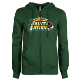 ENZA Ladies Dark Green Fleece Full Zip Hoodie-Saint Sation