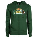 ENZA Ladies Dark Green Fleece Full Zip Hoodie-Saint Sation