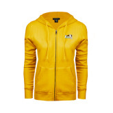 ENZA Ladies Gold Fleece Full Zip Hoodie-Official Logo