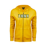ENZA Ladies Gold Fleece Full Zip Hoodie-Siena