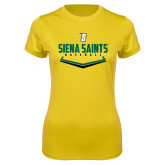Ladies Syntrel Performance Gold Tee-Baseball Plate Design