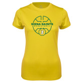 Ladies Syntrel Performance Gold Tee-Basketball Court Design