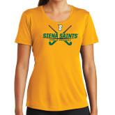 Ladies Syntrel Performance Gold Tee-Field Hockey Crossed Sticks