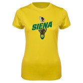 Ladies Syntrel Performance Gold Tee-Lacrosse Stick Design