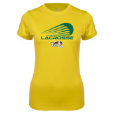 Ladies Syntrel Performance Gold Tee-Modern Lacrosse Design