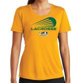 Ladies Syntrel Performance Gold Tee-Modern Lacrosse Design