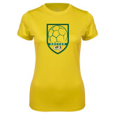 Ladies Syntrel Performance Gold Tee-Soccer Shield Design