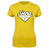 Ladies Syntrel Performance Gold Tee-Softball Plate Design