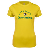 Ladies Syntrel Performance Gold Tee-Cheerleading Script Design
