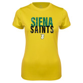 Ladies Syntrel Performance Gold Tee-Siena Saints Stacked