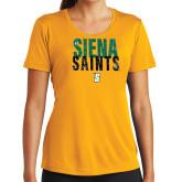 Ladies Syntrel Performance Gold Tee-Siena Saints Stacked
