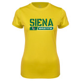 Ladies Syntrel Performance Gold Tee-Siena Saints Bar Design