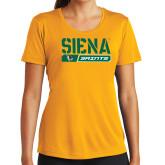 Ladies Syntrel Performance Gold Tee-Siena Saints Bar Design
