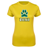 Ladies Syntrel Performance Gold Tee-Siena w/Paw