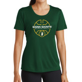 Ladies Performance Dark Green Tee-Basketball Court Design
