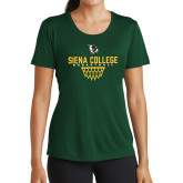 Ladies Performance Dark Green Tee-Basketball Sharp Net