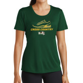 Ladies Performance Dark Green Tee-Cross Country Shoe Design
