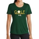 Ladies Performance Dark Green Tee-Golf Ball Design