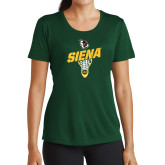Ladies Performance Dark Green Tee-Lacrosse Stick Design