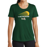 Ladies Performance Dark Green Tee-Modern Lacrosse Design
