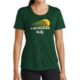 Ladies Performance Dark Green Tee-Modern Lacrosse Design