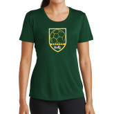 Ladies Performance Dark Green Tee-Soccer Shield Design