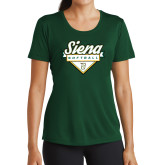 Ladies Performance Dark Green Tee-Softball Plate Design