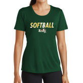 Ladies Performance Dark Green Tee-Distressed Softball