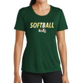 Ladies Performance Dark Green Tee-Distressed Softball