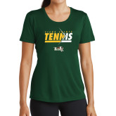 Ladies Performance Dark Green Tee-Tennis Abstract Net