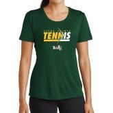 Ladies Performance Dark Green Tee-Tennis Abstract Net
