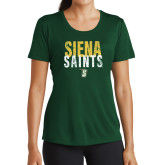 Ladies Performance Dark Green Tee-Siena Saints Stacked
