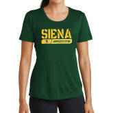 Ladies Performance Dark Green Tee-Siena Saints Bar Design