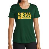 Ladies Performance Dark Green Tee-Siena Saints Bar Design