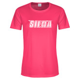 Ladies Performance Hot Pink Tee-Siena