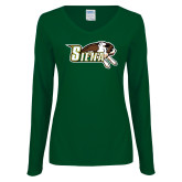 Ladies Dark Green Long Sleeve V Neck Tee-Official Logo