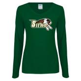 Ladies Dark Green Long Sleeve V Neck T Shirt-Official Logo