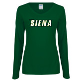 Ladies Dark Green Long Sleeve V Neck Tee-Siena