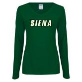 Ladies Dark Green Long Sleeve V Neck T Shirt-Siena