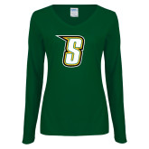 Ladies Dark Green Long Sleeve V Neck Tee-S